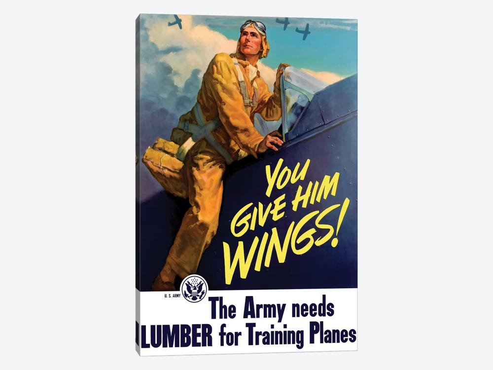 Vintage WWII Poster Of A Pilot Getting Into His Plane by John Parrot 1-piece Canvas Print