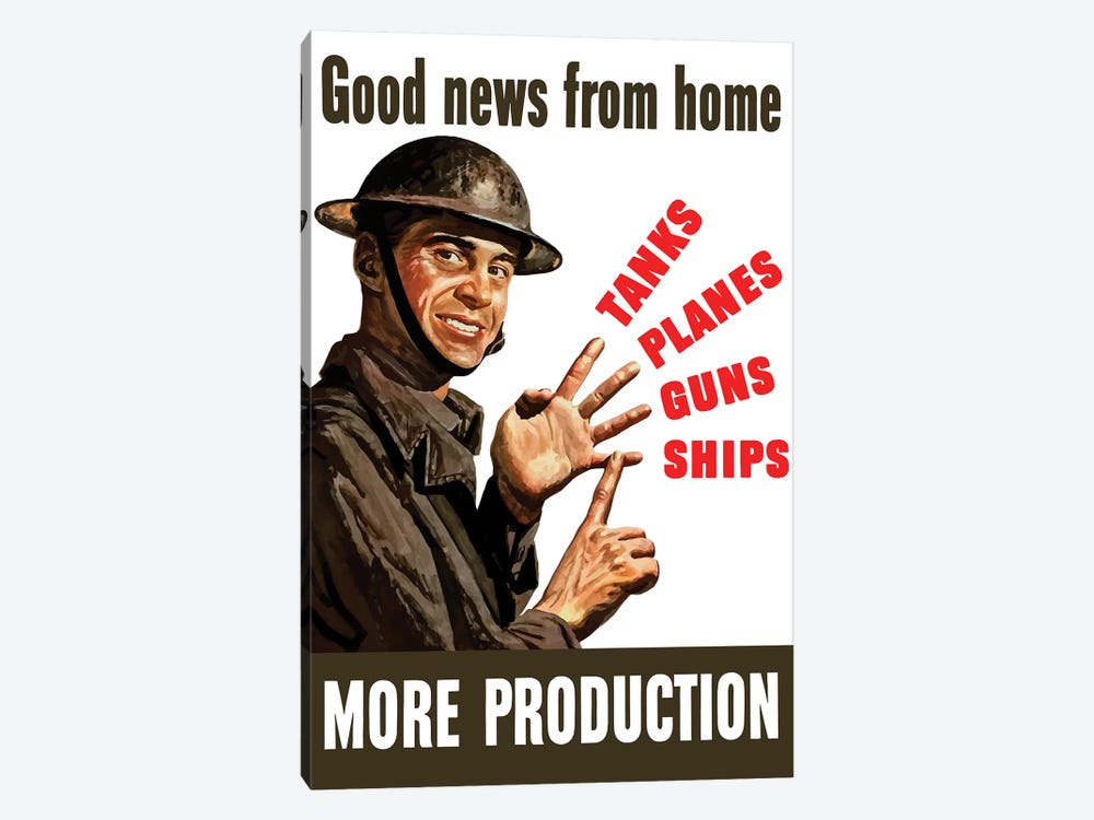 Vintage WWII Poster Of A Soldier Counting On His Fingers by John Parrot 1-piece Canvas Wall Art