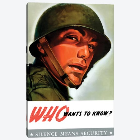 Vintage WWII Poster Of A Soldier Wearing His Helmet Canvas Print #TRK109} by John Parrot Canvas Wall Art