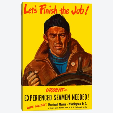 Experienced Seamen Needed! Vintage Wartime Poster Canvas Print #TRK10} by John Parrot Canvas Art Print