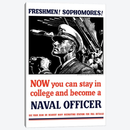 Vintage WWII Poster Of A US Naval Officer Holding Binoculars Canvas Print #TRK110} by John Parrot Art Print