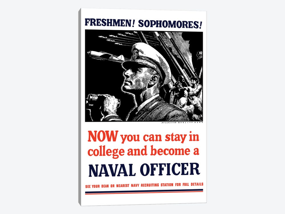 Vintage WWII Poster Of A US Naval Officer Holding Binoculars by John Parrot 1-piece Canvas Print