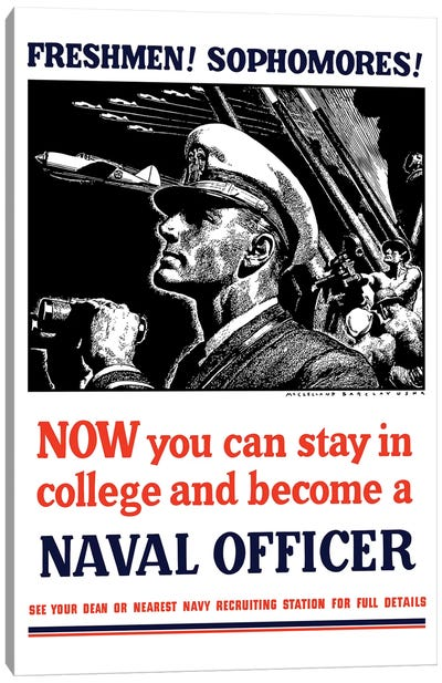 Vintage WWII Poster Of A US Naval Officer Holding Binoculars Canvas Art Print