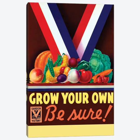 Vintage WWII Poster Of A Variety Of Garden Vegetables Canvas Print #TRK111} by John Parrot Canvas Art Print