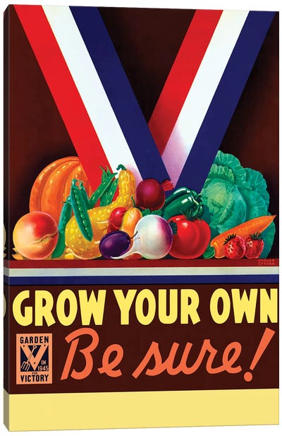 Vintage WWII Poster Of A Variety Of Garden Vegetables Canvas Art Print