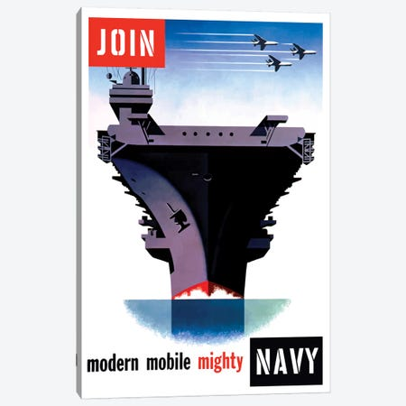 Vintage WWII Poster Of An Aircraft Carrier With Three Planes Flying Overhead Canvas Print #TRK112} by John Parrot Canvas Art Print