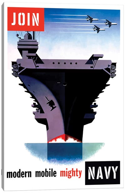 Vintage WWII Poster Of An Aircraft Carrier With Three Planes Flying Overhead Canvas Art Print