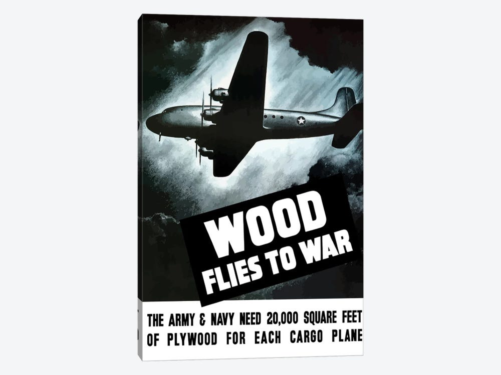 Vintage WWII Poster Of An Army Cargo Plane Flying Through The Night Sky by John Parrot 1-piece Canvas Wall Art