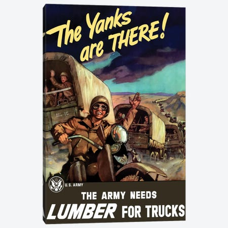 Vintage WWII Poster Of Military Transport Trucks Filled With Troops Canvas Print #TRK115} by John Parrot Canvas Art