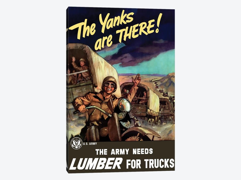 Vintage WWII Poster Of Military Transport Trucks Filled With Troops by John Parrot 1-piece Canvas Artwork