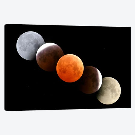 Digital Composite Of Total Lunar Eclipse Canvas Print #TRK1167} by Alan Dyer Canvas Artwork
