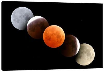 Digital Composite Of Total Lunar Eclipse Canvas Art Print