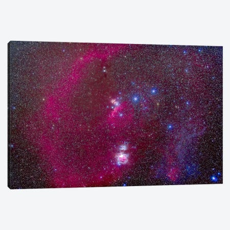 The Orion Nebula, Belt Of Orion, Sword Of Orion And Nebulosity Canvas Print #TRK1181} by Alan Dyer Canvas Print