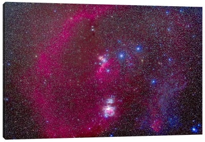 The Orion Nebula, Belt Of Orion, Sword Of Orion And Nebulosity Canvas Art Print