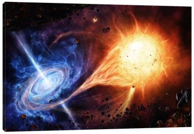 A Binary System Orbiting Near A Black Hole Canvas Art Print