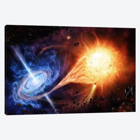 A Binary System Orbiting Near A Black Hole Canvas Print #TRK1186} by Brian Christensen Canvas Artwork