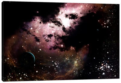 A Cluster Of Bright Young Stars Tear Away Clouds Of Gas And Dust Canvas Art Print