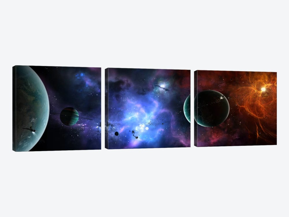 A Massive And Crowded Universe by Brian Christensen 3-piece Canvas Wall Art