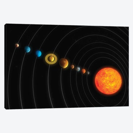 Solar System Diagram I Canvas Print #TRK1192} by Carbon Lotus Canvas Artwork