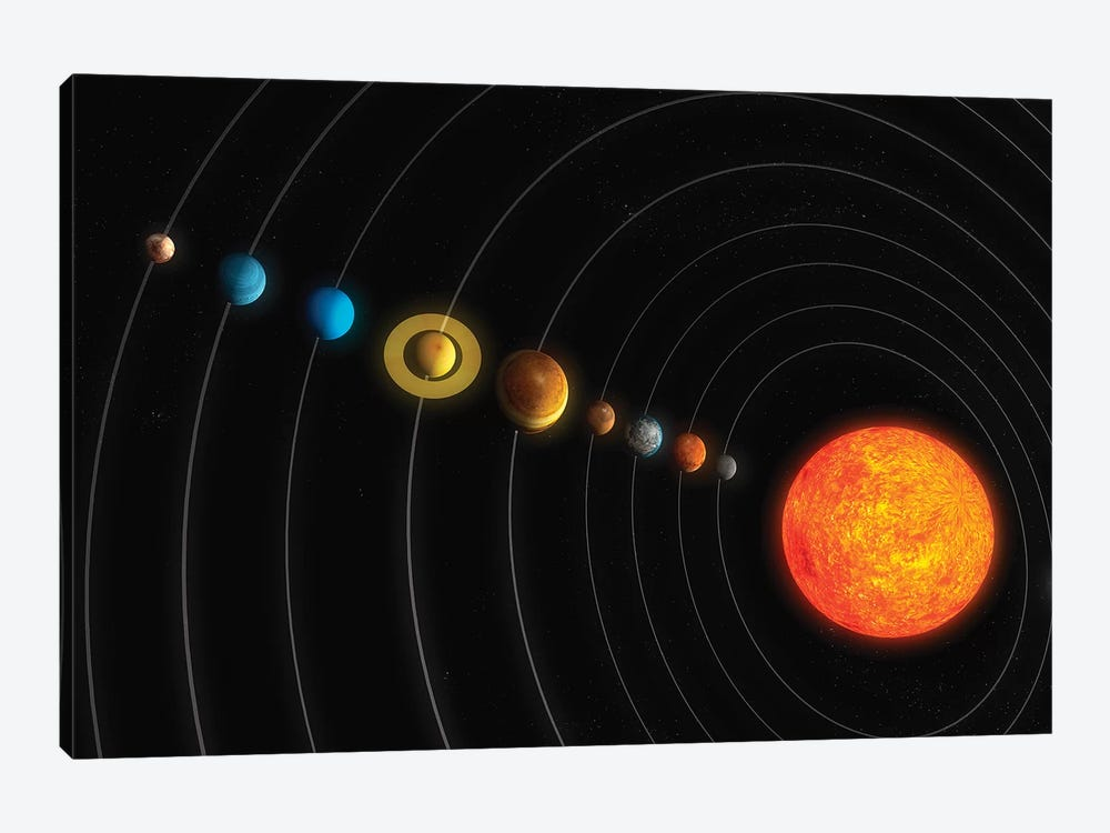 Solar System Diagram I by Carbon Lotus 1-piece Canvas Art Print