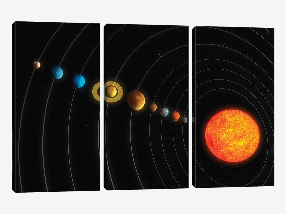 Solar System Diagram I by Carbon Lotus 3-piece Canvas Art Print