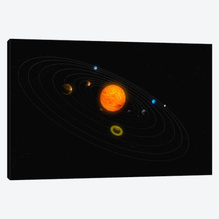 Solar System Diagram II Canvas Print #TRK1193} by Carbon Lotus Canvas Wall Art
