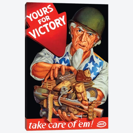 Vintage WWII Poster Of Uncle Sam Wearing A Helmet And Holding Supplies Canvas Print #TRK119} by John Parrot Canvas Print