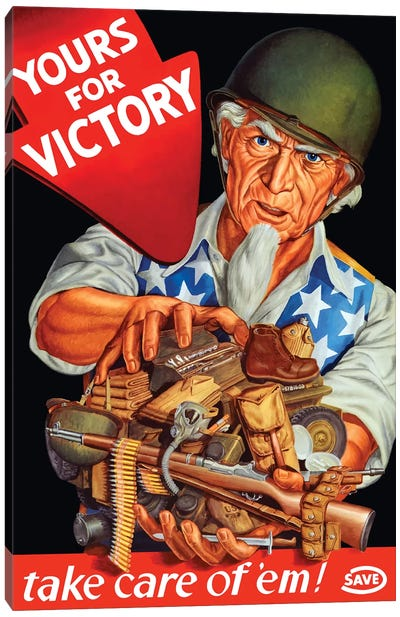 Vintage WWII Poster Of Uncle Sam Wearing A Helmet And Holding Supplies Canvas Art Print