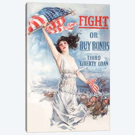 Fight Or Buy Bonds Vintage Wartime Poster Canvas Print #TRK11} by John Parrot Canvas Print