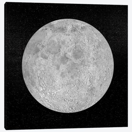 Artist's Concept Of A Full Moon In The Universe At Night 3-Piece Canvas #TRK1202} by Elena Duvernay Canvas Art