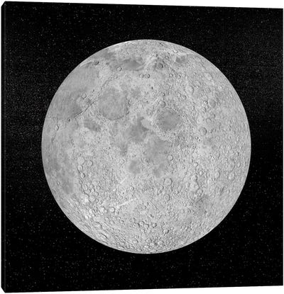 Artist's Concept Of A Full Moon In The Universe At Night Canvas Art Print
