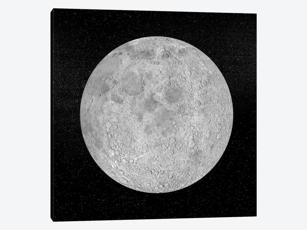 Artist's Concept Of A Full Moon In The Universe At Night by Elena Duvernay 1-piece Canvas Artwork