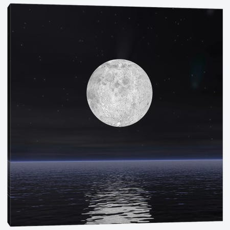 Full Moon On A Dark Night With Stars And Comets Over The Ocean Canvas Print #TRK1203} by Elena Duvernay Canvas Wall Art