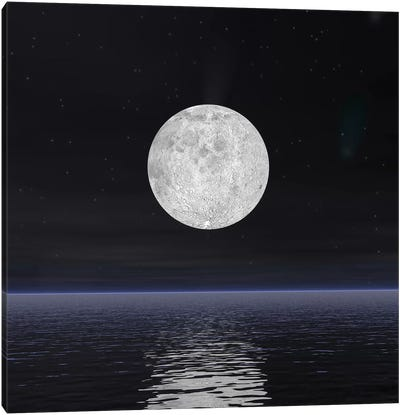 Full Moon On A Dark Night With Stars And Comets Over The Ocean Canvas Art Print