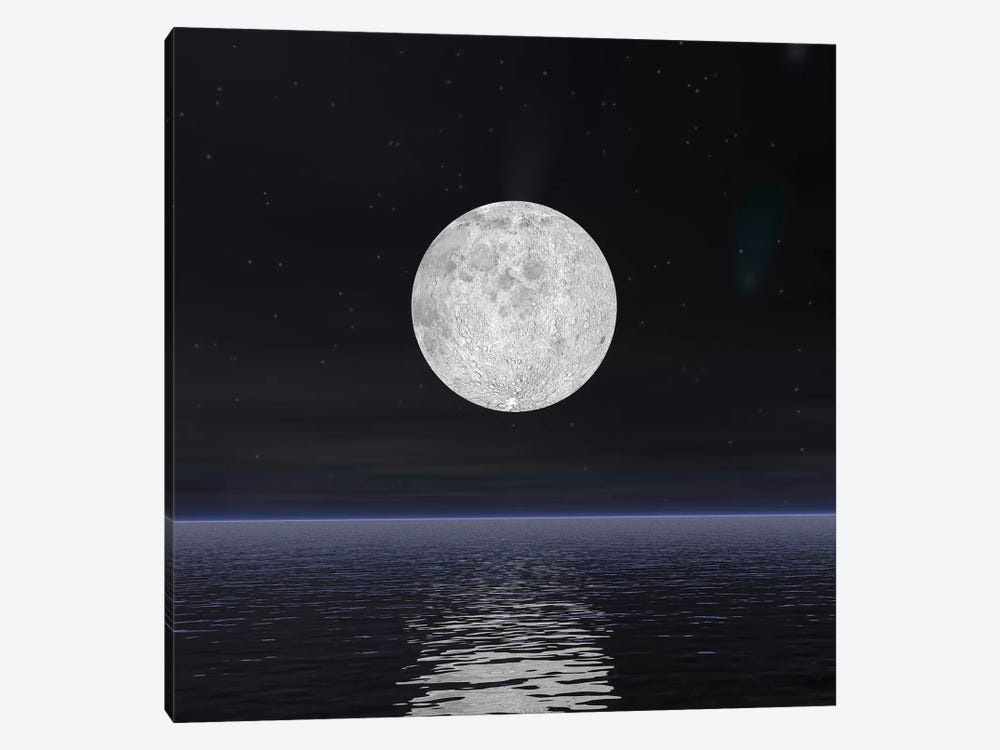Full Moon On A Dark Night With Stars And Comets Over The Ocean by Elena Duvernay 1-piece Canvas Art Print