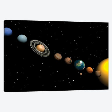 Planets Of The Solar System Canvas Print #TRK1204} by Elena Duvernay Canvas Art Print