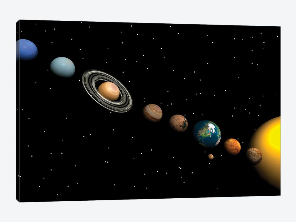 Planets Of The Solar System by Elena Duvernay 1-piece Canvas Artwork