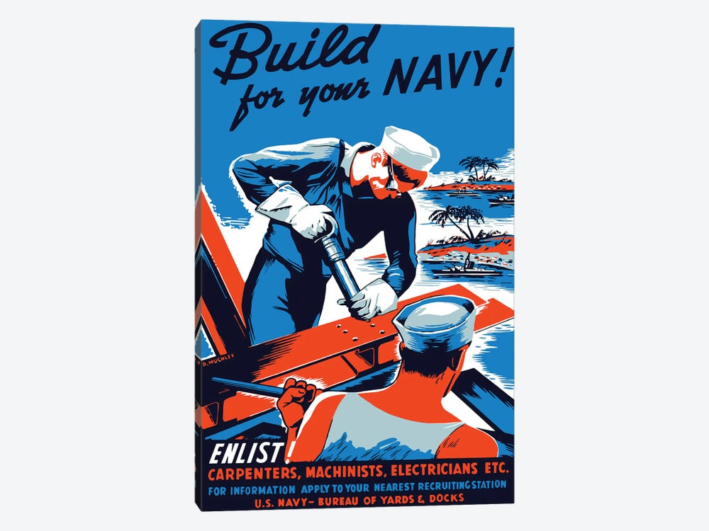 Vintage WWII Poster Showing Two Sailors Building A Ship by John Parrot 1-piece Canvas Art