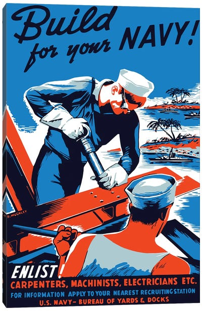Vintage WWII Poster Showing Two Sailors Building A Ship Canvas Art Print