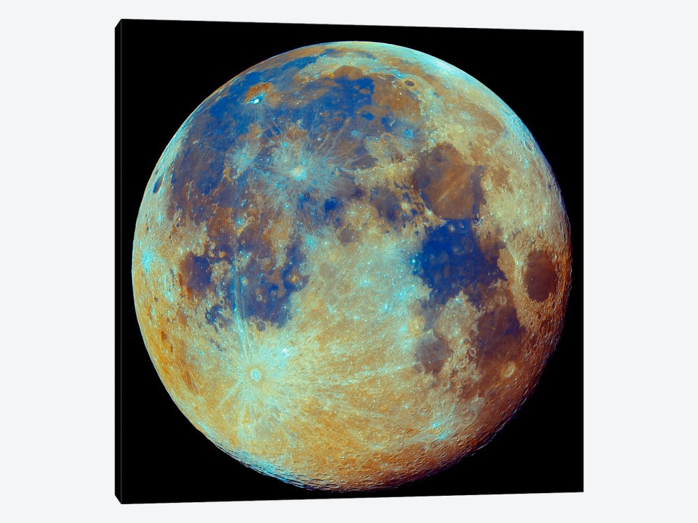 Colored Moon (Geological Differences) by Filipe Alves 1-piece Canvas Art Print