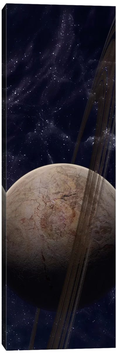 A Ringed Planet In Front Of An Odd Starfield Canvas Art Print