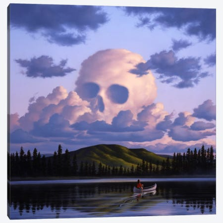 A Cloud Formation Depicting A Skull, With A Lake And Canoeist Below Canvas Print #TRK1217} by Jerry LoFaro Canvas Artwork