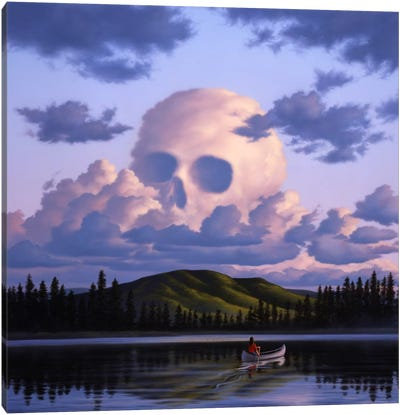 A Cloud Formation Depicting A Skull, With A Lake And Canoeist Below Canvas Art Print