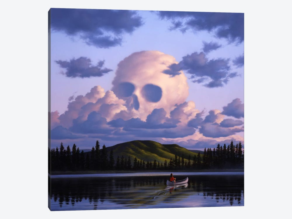 A Cloud Formation Depicting A Skull, With A Lake And Canoeist Below by Jerry LoFaro 1-piece Canvas Art