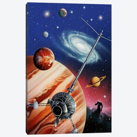 A Montage Of The Universe Featuring Astronomical Objects And An Exploratory Craft Canvas Print #TRK1218} by Jerry LoFaro Canvas Art Print