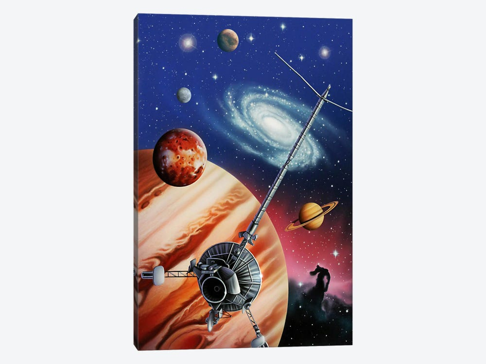 A Montage Of The Universe Featuring Astronomical Objects And An Exploratory Craft by Jerry LoFaro 1-piece Canvas Art Print