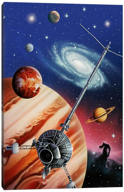 A Montage Of The Universe Featuring Astronomical Objects And An Exploratory Craft Canvas Art Print