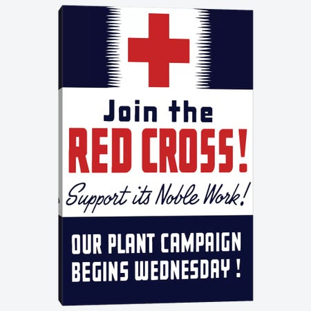 Vintage WWII Propaganda Poster Featuring A Red Cross Canvas Print #TRK121} by John Parrot Canvas Art
