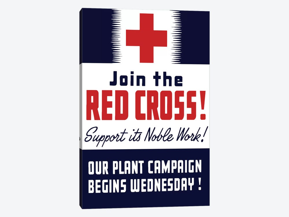 Vintage WWII Propaganda Poster Featuring A Red Cross by John Parrot 1-piece Canvas Print