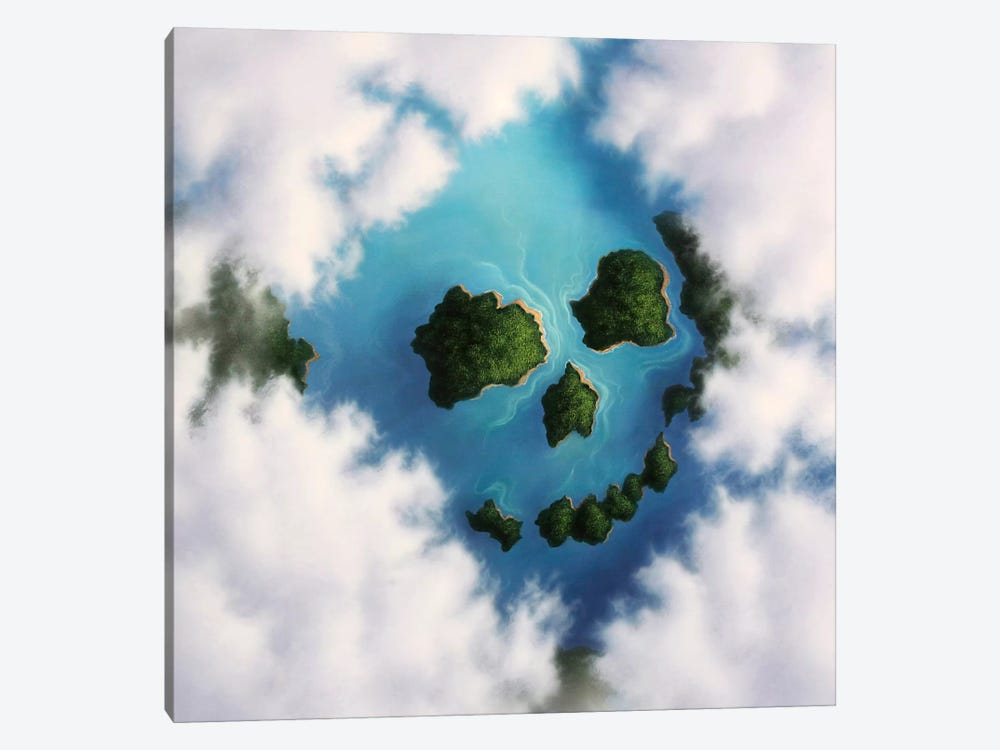Islands Framed By Clouds Forming A Skull by Jerry LoFaro 1-piece Canvas Wall Art